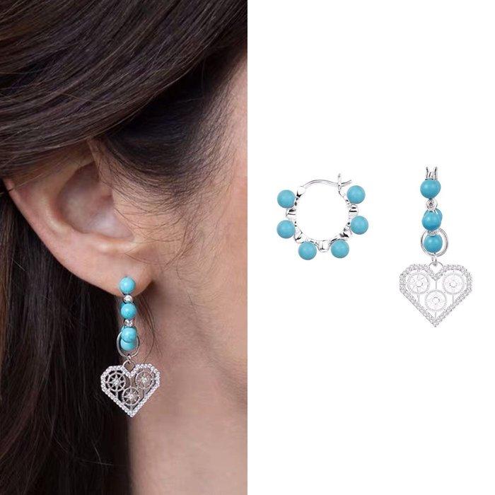 💎1714、天空藍松石精雕愛心甜美清新名媛耳環💎 精品 耳環 輕奢飾品 正韓飾品 925純銀針