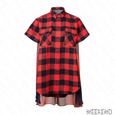 【WEEKEND】 SACAI Checked 拼接 格紋 短袖 襯衫 洋裝 短洋 紅色 18秋冬