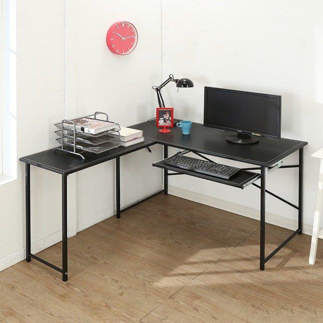 客廳 書房【居家大師】仿古馬鞍皮面L型附鍵盤工作桌 B-Y-DE016-K 電腦桌 辦公桌 書桌