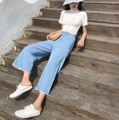 【T3】經典牛仔寬褲 修飾身材 高腰 ...