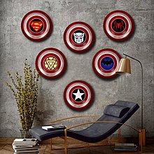 圓形木板畫牆畫掛畫美國隊長圓形盾牌貼畫無框畫酒吧網吧裝飾畫(10款可選)