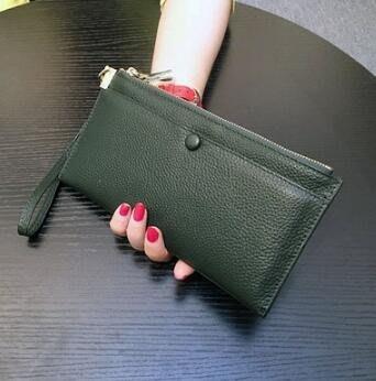 長夾女錢包女長款真皮多功能頭層牛皮簡約拉鍊手拿包手機錢夾潮