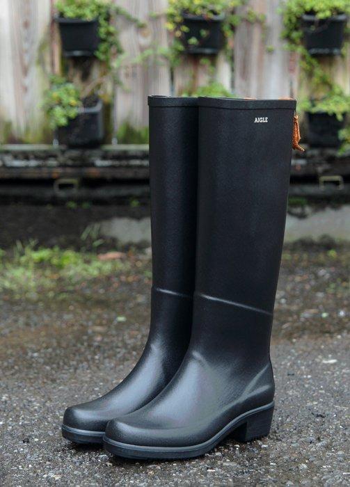 INDiCE ↗ 熱銷靴型 AIGLE Miss Juliette 經典手工中跟雨靴 法國製 經典黑