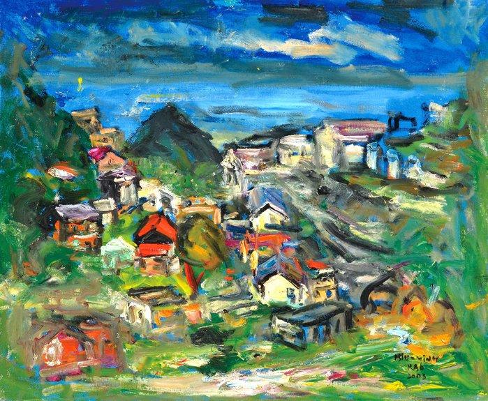 L2292 高秀明 金瓜石 2003 20號 油畫 (油彩、野獸派、台灣、苗栗、造橋、本土、星期日畫會、張萬傳、蔣瑞坑)