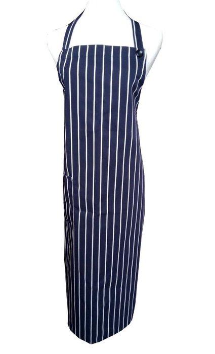 ☆°萊亞生活館 °圍裙 ~全長圍裙-廚師圍裙【#A536 全長繞頸圍裙-深藍白條紋】