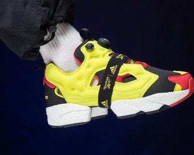 REEBOK 愛迪達 PUMP FURY X BOOST 爆米花 充氣 黑白紅 螢光黃 繃帶 慢跑 FW5305 男女鞋
