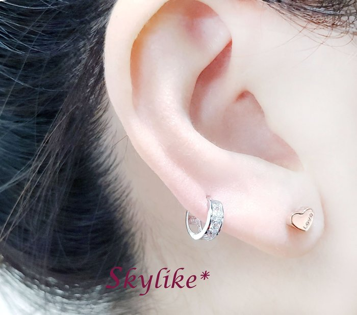 *SKYLIKE* 最可愛-韓國進口585/14K白K金、玫瑰K金、黃K金個性風全亮面易扣耳環,TO-5009k