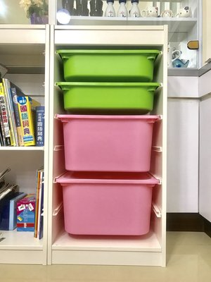 二手IKEA白色玩具收納櫃+4個收納盒+4個蓋,9成新
