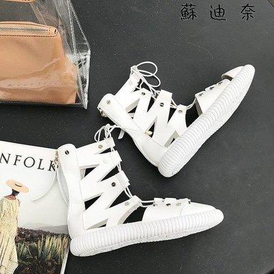 YEAHSHOP 平底綁帶高筒涼鞋羅馬鞋鉚釘涼靴繫帶475161Y185