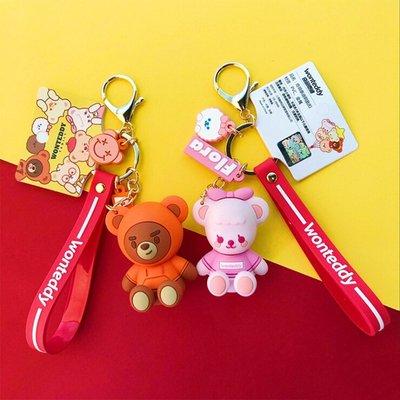 卡通公仔奇萌泰迪鑰匙扣可愛玩偶鑰匙鏈女生包包掛件書包裝飾禮物