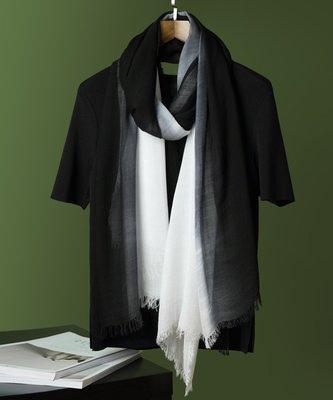 【Lady Luck服飾】曼妙氣質黑白漸變純棉絲巾圍巾女
