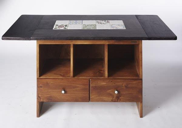 原木工坊~  MIT台灣製造  原木傢俱訂製   拼貼雙色風中島桌