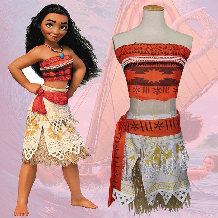 【Kathie Shop】迪士尼海洋奇緣moana兒童角色扮演cosplay服裝萬聖節派對化妝舞會表演服套裝 親子裝