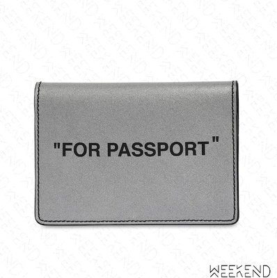 【WEEKEND】 OFF WHITE Quote For Passport 反光 卡夾 護照夾 銀色 20春夏