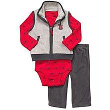 【安琪拉 美國童裝/生活小舖】Carter's 3件式套裝 –灰色吉他背心+包屁衣/連身衣+長褲