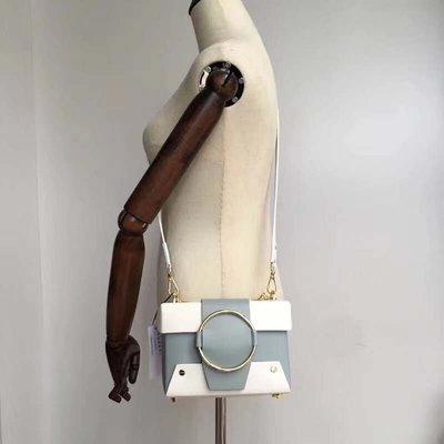 ╭☆包媽子店☆YUZEFI Asher box 女包英國小眾復古包拼色牛皮圓環相機包小方包