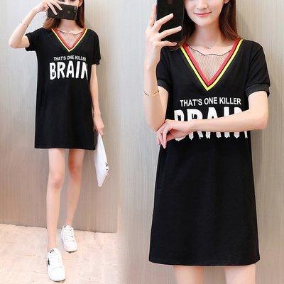 GOGO SHOP☆╭韓版新款 網狀V領顯瘦洋裝 字母印花連身裙【Y1411】XL~5XL長版T恤 大尺碼 可愛洋裝