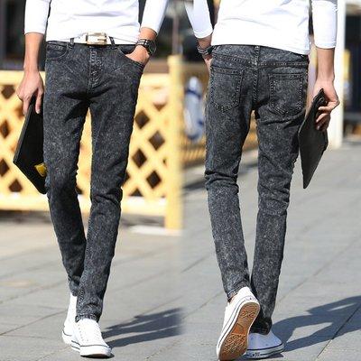 春秋爆款熱賣 韓版男士牛仔褲男式修身雪花灰小腳褲 Y6002