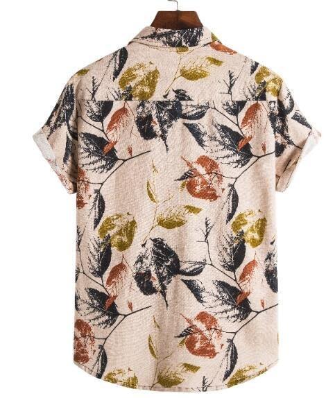 FINDSENSE X 男士 薄款 棉麻民族風西裝領短袖 襯衣 襯衫