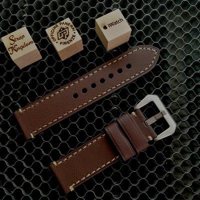 Dark Brown Calfskin Leather Strap 手造棕色小牛皮(合PANERAI,APPLE WATCH用) 24MM 代用錶帶