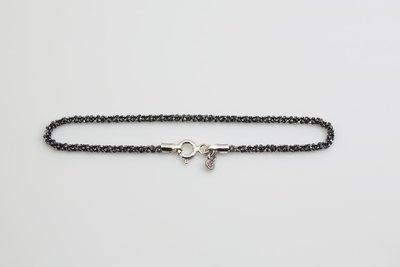 B003) 黑扭麻花手鍊 Black Twist Bracelet (Italy Chain,意大利925銀鍊,搭配,吊墜,紀念,生日禮物,禮物)