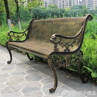 公園椅戶外長椅子不銹鋼園林鐵藝小區花園庭院休閑靠背廣場休息凳qm