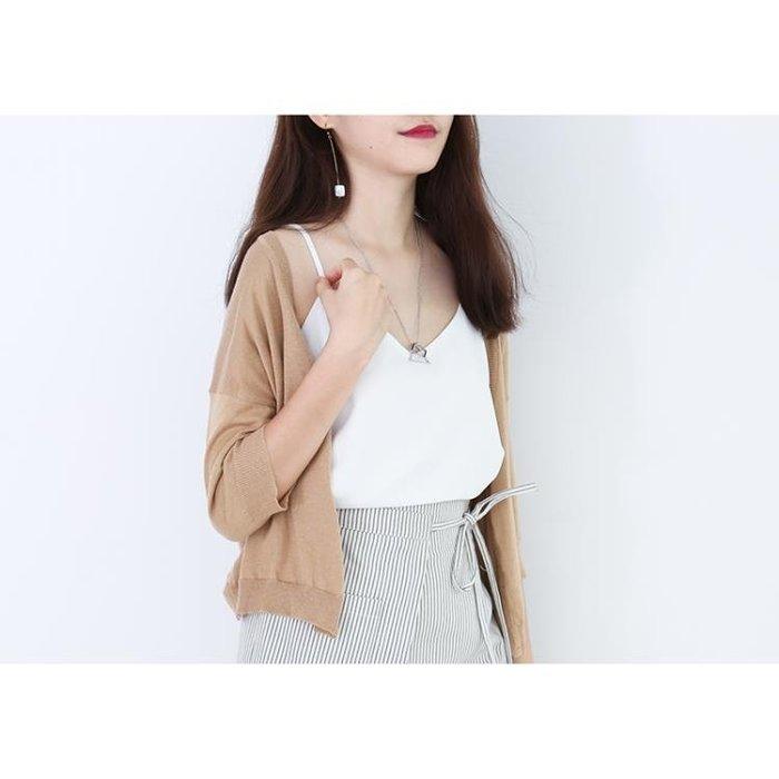 MISAZ春夏外搭薄款毛衣外套七分袖針織衫百搭短款防曬開衫小披肩