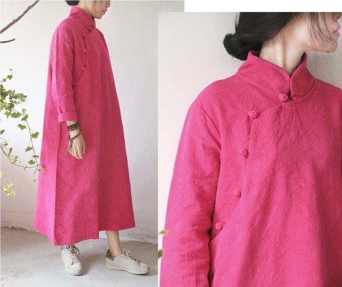 【子芸芳】 中式盤扣立體提花棉麻連衣裙袍子