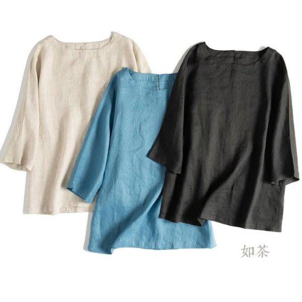 【如茶】簡約親膚水洗寬鬆亞麻上衣-多色推薦