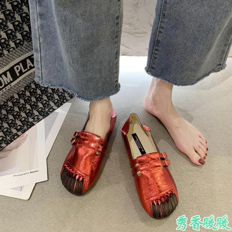 網紅一鞋兩穿圓頭低幫鞋女夏季新款休閑百搭平底防滑豆豆鞋