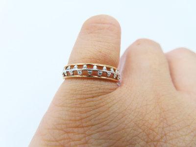 %玉承珠寶%輕珠寶系列14k玫瑰金/白K金精緻天然鑽三線式設計鑽戒/尾戒DR9(現貨1)