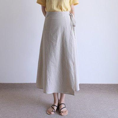 下殺價!最後一件 girlmonster 正韓 一片式側邊綁帶裙 (淺米 /深棕/深藍/黃)   【A0240】