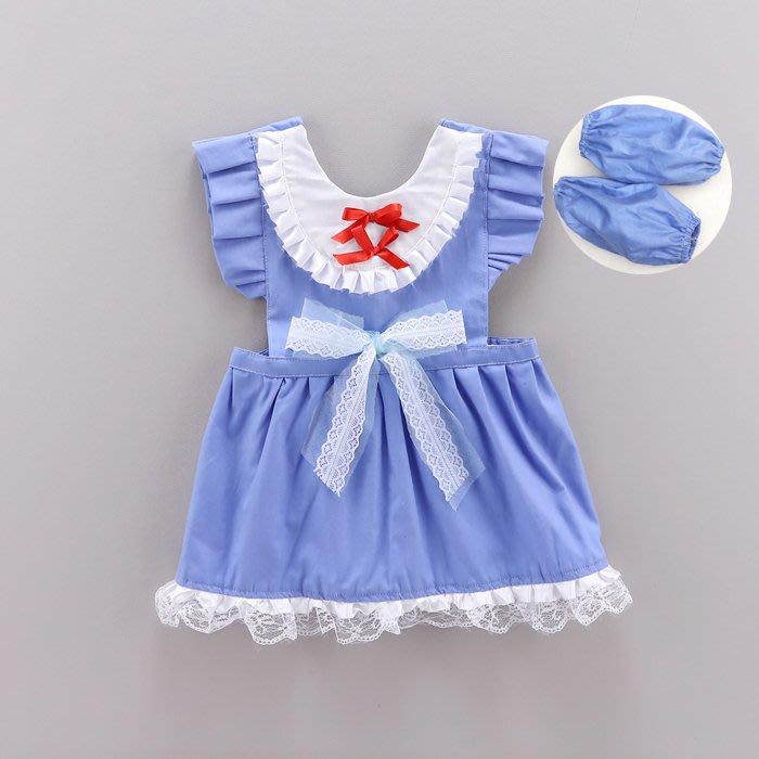 •*~ 辣媽咪衣飾小舖 ~*•❤童裝系列❤K530364兒童圍裙防水罩衣無袖背心式吃飯畫畫圍裙+袖套