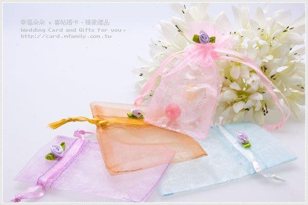 小玫瑰花紗袋-喜糖袋/喜糖包裝/禮物包裝/糖果袋/禮物袋/包裝用品/可裝金莎1顆/幸福朵朵
