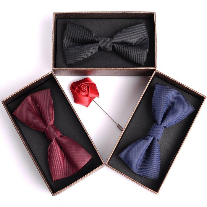 黑色酒紅藍色蝴蝶結英倫新郎結婚領結伴郎正裝領結男 禮盒裝