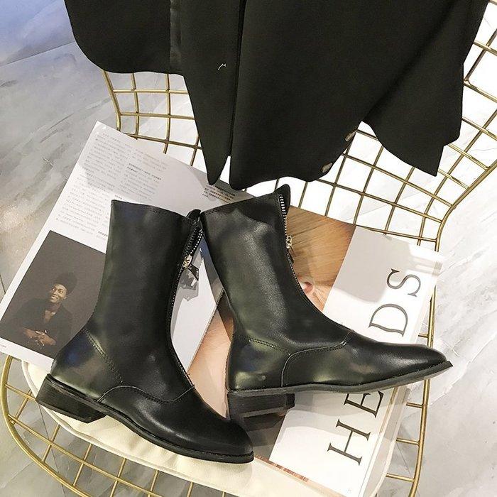 999短靴 靴子 馬丁靴 牛津靴  新款復古做舊前拉鏈馬丁靴子女低跟中筒帥氣騎士短靴潮酷