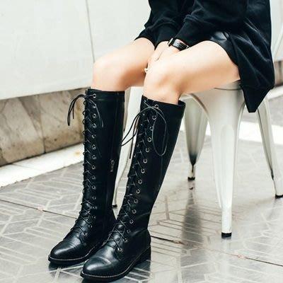 真皮長靴 低跟靴子(零碼賠售出清、恕不退換)-交叉綁帶個性騎士風女鞋2色73iv39[獨家進口][米蘭精品]