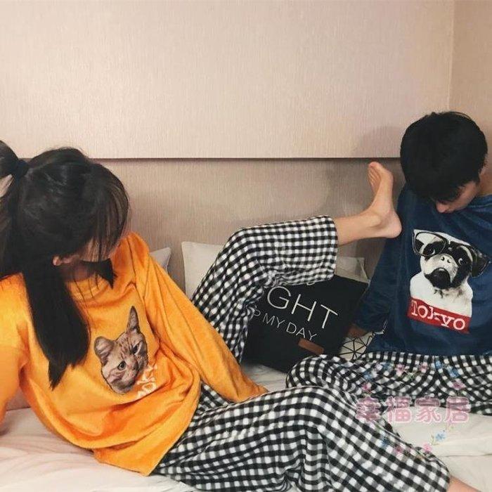 單套毛絨睡衣女可愛貓秋冬珊瑚絨學生情侶正韓潮家居服套裝男加厚保暖