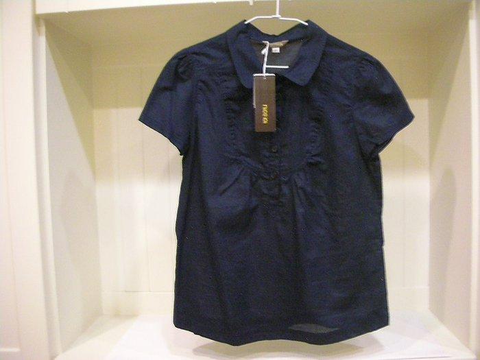 全新吊牌完整 niceioi 100%透氣棉深暗藍氣質優雅領五開釦式穿脫抓皺式圓弧造型前片/ 後片抓皺女小傘狀短袖襯衫