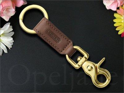 美國真品 Coach KEY RING 咖啡色 真皮 可勾掛式 鑰匙圈 鑰匙環 鑰匙掛環吊環 男女適用 愛Coach包包