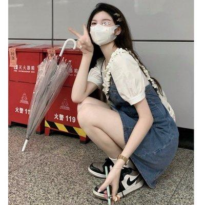 韓國女裝定制~YUMMY可可愛愛牛仔控韓系chic夏季洋氣牛仔假二件小個子連身裙女