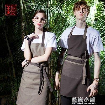 圍裙西餐廳咖啡廳掛脖圍裙拼色女士家居廚房做飯韓版圍裙定制