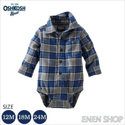 『Enen Shop』@OshKosh Bgosh 藍/灰格紋法蘭絨襯衫包屁衣 #423G194|12M/18M/24M
