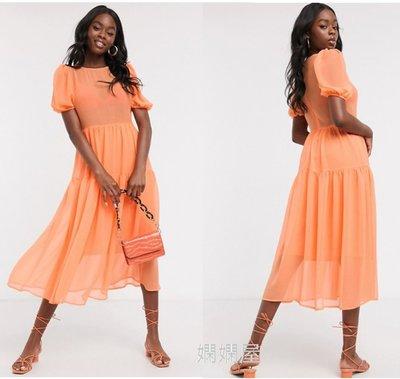 (嫻嫻屋) 英國ASOS-Never Fully優雅時尚名媛霓虹橙色圓領泡泡袖透膚微露美背中長裙洋裝禮服 SC20