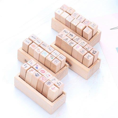 創意日記小印章 diy相冊旅行天氣星期生活圖章 韓國12枚木盒套裝_☆優購好SoGood☆