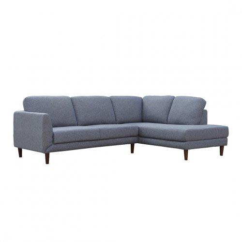 【歐雅系統家具】瓦爾轉角布沙發-L型面右-淺灰藍