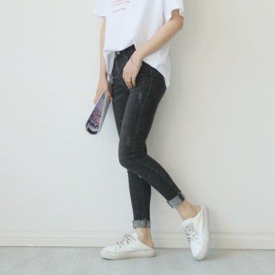 牛仔 褲 小腳 長褲-時尚抓痕毛邊做舊女褲子73tq38[獨家進口][米蘭精品]