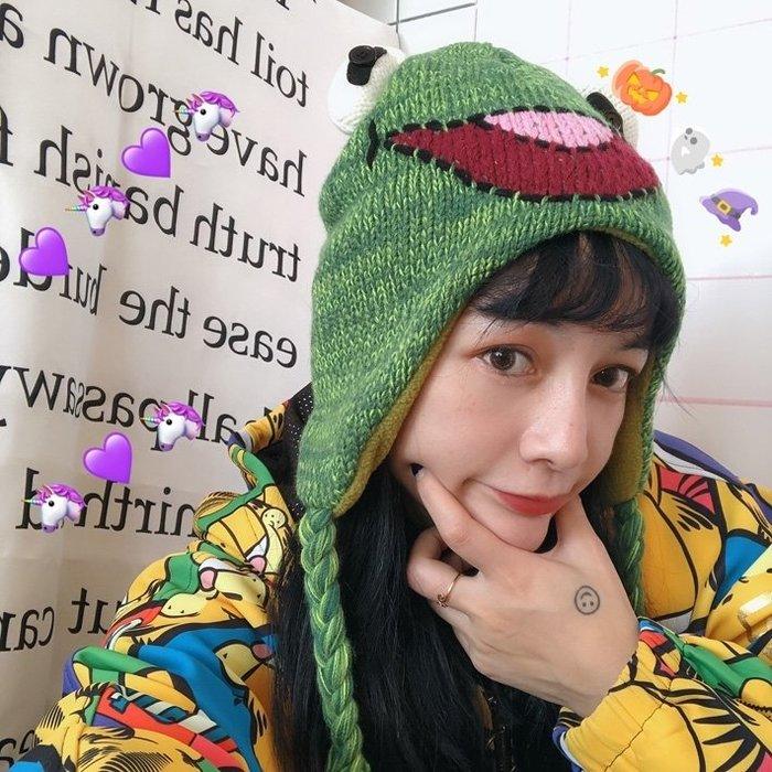 超可愛搞怪童趣風立體3d施密特青蛙帽子針織毛線男女ins頭套道具