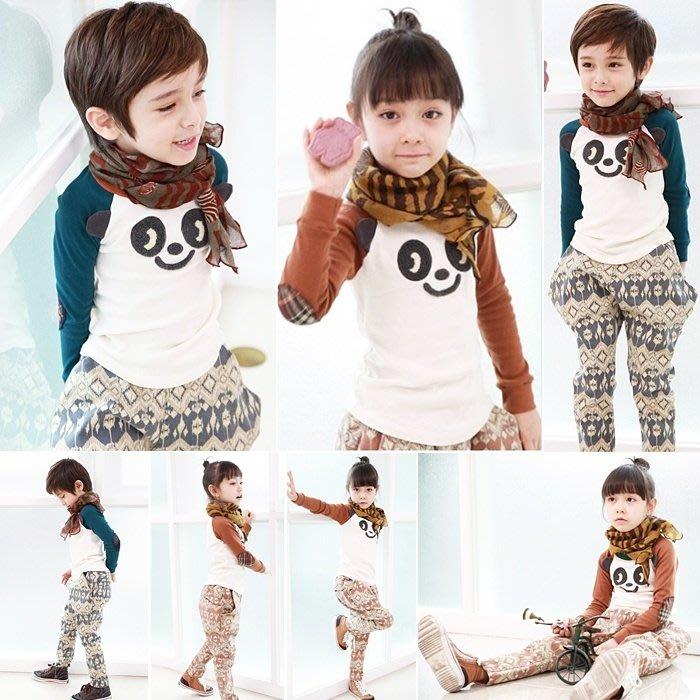 韓版《熊貓印花款》拼袖長袖上衣 (L4-2)