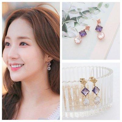 ☆~Candy Chi~ Shop~☆ 韓國進口~她的私生活~朴敏英~夢幻紫色寶石耳環~預購